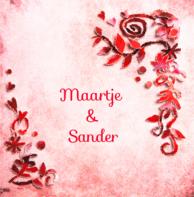 Trouwkaart rode bloemen