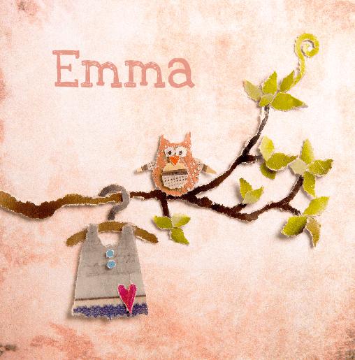 voorkant Geboortekaartje uiltje Emma