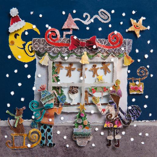 voorkant Kerstkaart snoepwinkel avond