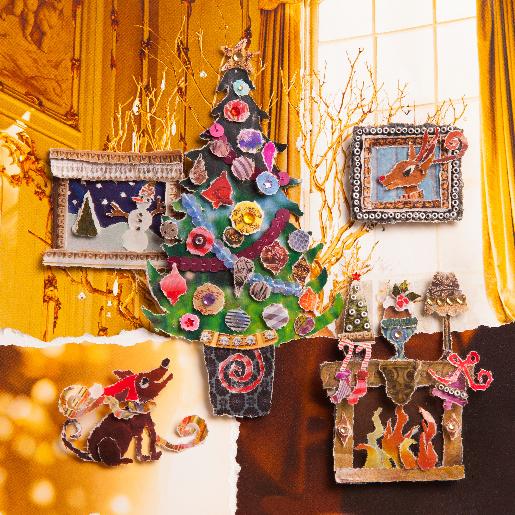 voorkant Kerstkaart woonkamer kerstboom