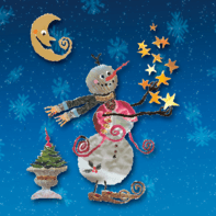 Kerstkaart sneeuwpop maan en sterren