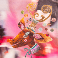 Kerstkaart rendier roze