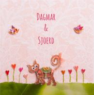 Trouwkaart poes met trouwringen