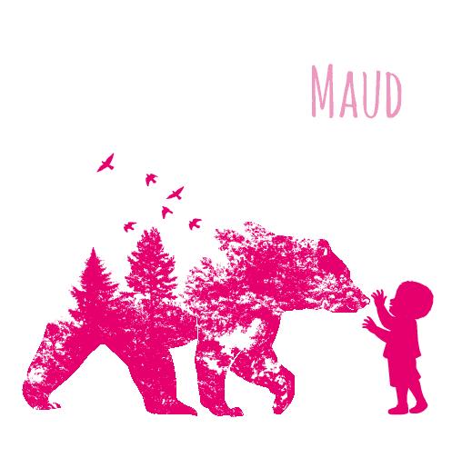 voorkant Silhouetkaartje beer roze