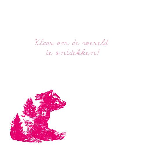 binnenkant links Silhouetkaartje beer roze