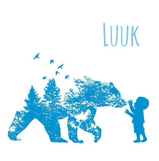 voorkant Geboortekaartje silhouet blauw Luuk