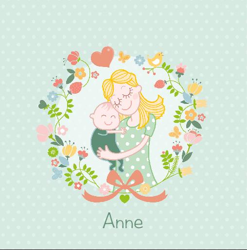 voorkant Moeder en kindje bloemen Anne