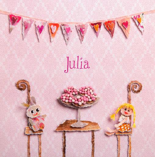 voorkant Beschuit met roze muisjes Julia