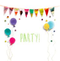Uitnodiging slingers en ballonnen