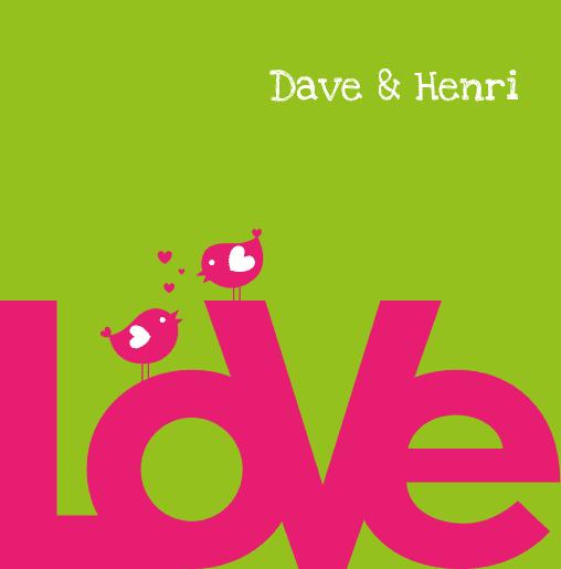 voorkant Homo trouwkaart birds roze groen