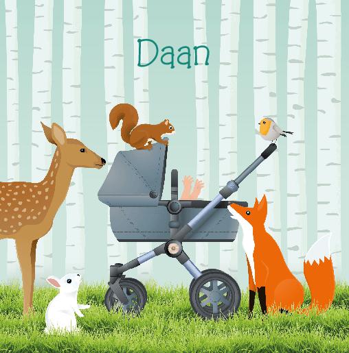 voorkant Geboortekaartje kinderwagen dieren Daan