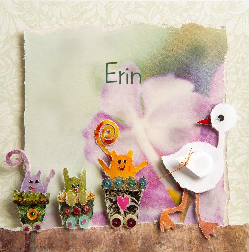 voorkant Geboortekaartje eend treintje Erin