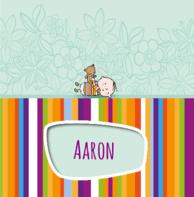 Geboortekaartje streepjes beertje Aaron