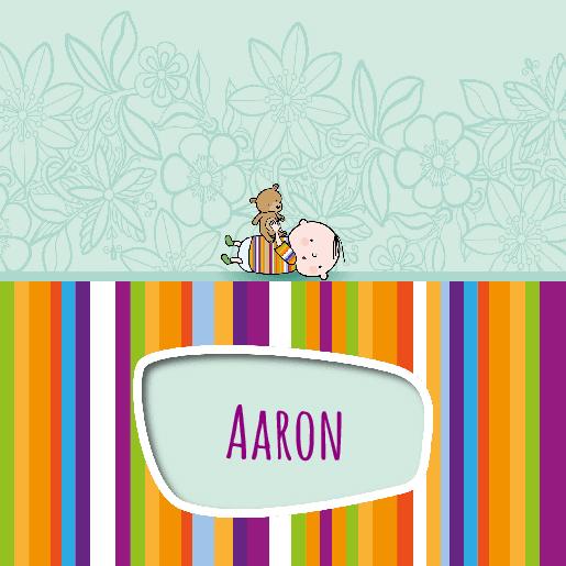 voorkant Geboortekaartje streepjes beertje Aaron