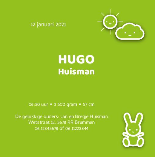 binnenkant rechts Hoera een baby groen Hugo