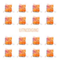 Uitnodiging kadootjes oranje