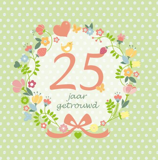 voorkant Uitnodiging bloemenkrans 25 jaar getrouwd