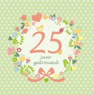 Uitnodiging bloemenkrans 25 jaar getrouwd