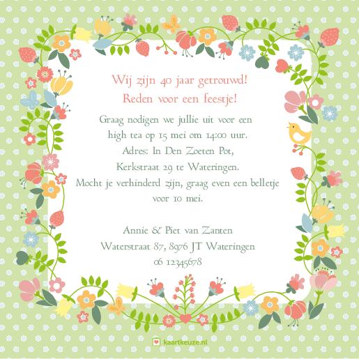 Magnifiek Uitnodiging bloemen 40 jaar enkel | Kaartkeuze &RM52