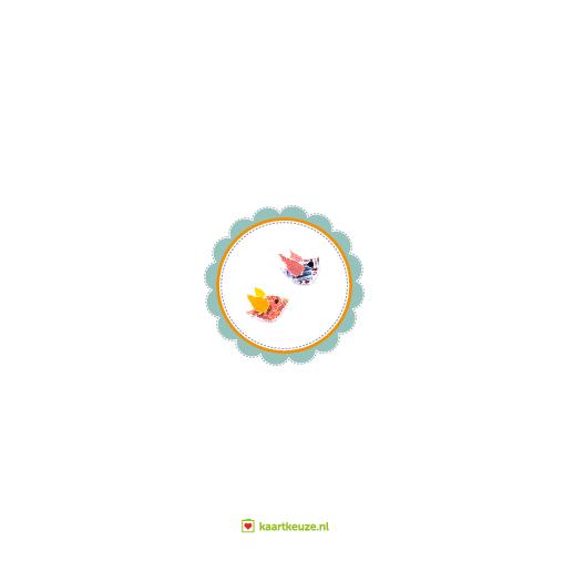 achterkant Verhuiskaart huisje vogeltjes zonnetje