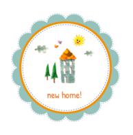 Verhuiskaart huisje vogeltjes zonnetje