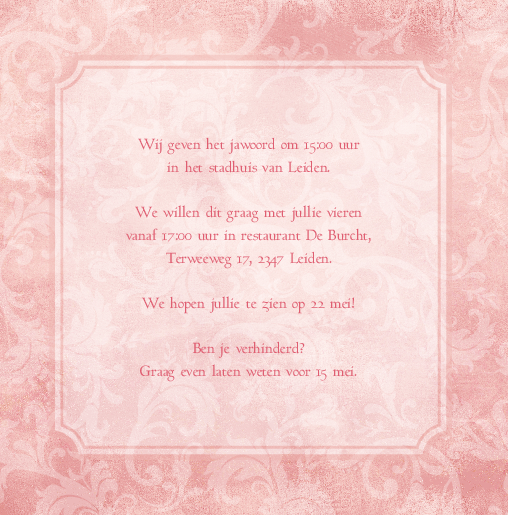 binnenkant rechts Trouwkaart roze krullen