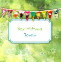 Bar Mitswa uitnodiging slingers groen