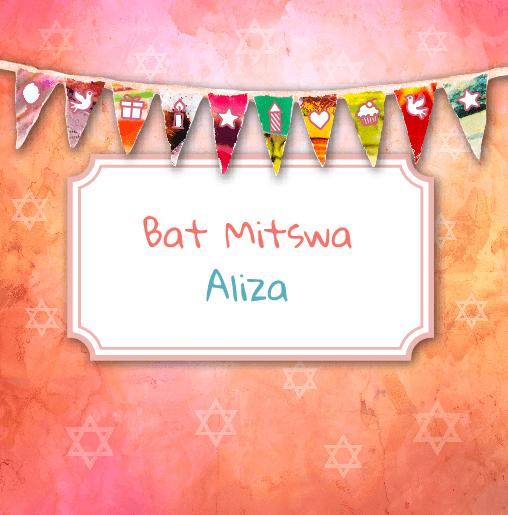 voorkant Bat Mitswa uitnodiging slinger oranje