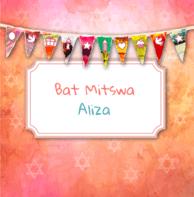 Bat Mitswa uitnodiging slinger oranje