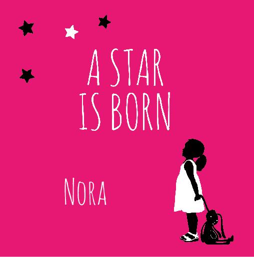 voorkant Geboortekaartje zusje star roze