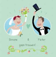 Trouwkaart bruidspaar bloemen