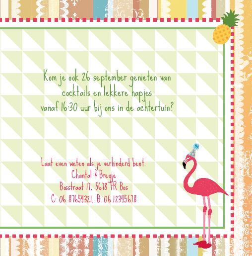 binnenkant rechts Uitnodiging flamingo