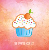 Verjaardagskaart oranje cupcake
