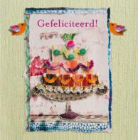 Verjaardagskaart taart vogeltjes