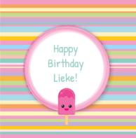 Verjaardagskaart roze ijsje
