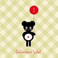 Verjaardagskaart beertje ballon