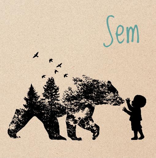 voorkant Geboortekaartje silhouet beer wolf kraft