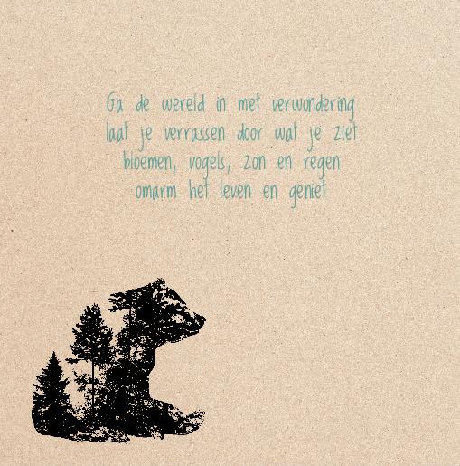 binnenkant links Geboortekaartje silhouet beer wolf kraft