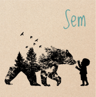Geboortekaartje silhouet beer wolf kraft