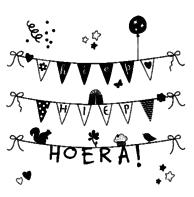 Verjaardagskaart zwart wit slingers