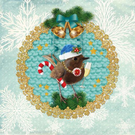 voorkant Kerstkaart turquoise vogel