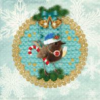 Kerstkaart turquoise vogel