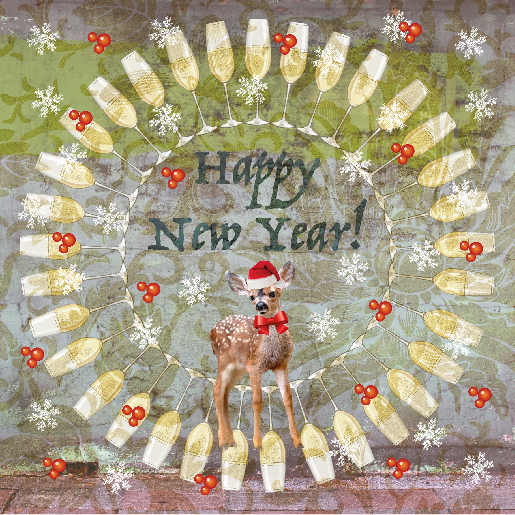 voorkant Nieuwjaarskaart hertje champagne