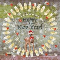 Nieuwjaarskaart hertje champagne