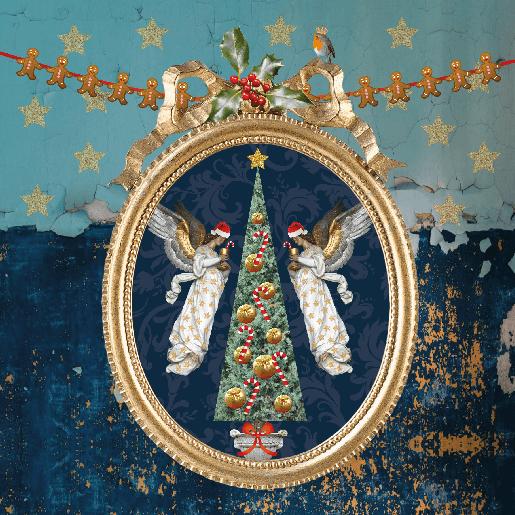 voorkant Kerstkaart goud blauw