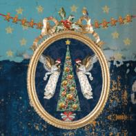 Kerstkaart goud blauw