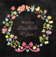Verjaardagskaart krijt bloemen