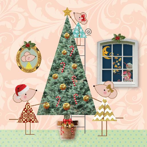 voorkant Kerstkaart muisjes boom