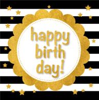 Verjaardagskaart goud kader