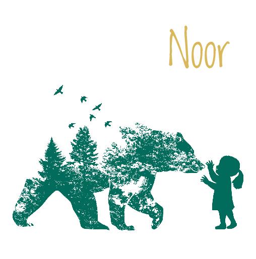 voorkant beer hert meisje groen